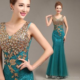 Wholesale Teal Trumpet Dress - 2017 Cheap IN STOCK Teal Embroidery Evening Dresses Gold Appliques Illusion Back Prom Party Dresses Cheap Bridesmaid Dresses CPS223
