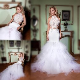 Wholesale evening halter top white gowns - Gorgeous White Two Pieces Prom Dresses 2016 Halter Lace Top With Mermaid Tulle Skirt Evening Gowns Sexy Backless Formal Party Dresses
