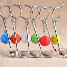 Wholesale Golf Gifts For Men - Popular Hot Sell Golf Ball key Chain Top Grade Metal Keychain Car Key Chain Key Ring Sporting Goods Sports Gift For Souvenir Ball Keyring