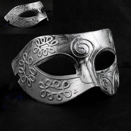 Wholesale Glitter Masquerade Masks - Men's retro Greco-Roman Gladiator Glitter fancy dress Ancient Greek and Roman fighter Masquerade mask new Mens Halloween Costume Party Mask