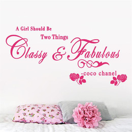 Wholesale Classy Quote - 8380 1.5 A girl should be Classy and Fabulous quote wall stickers Rose vinyl home decoration wall sticker adesivo de parede