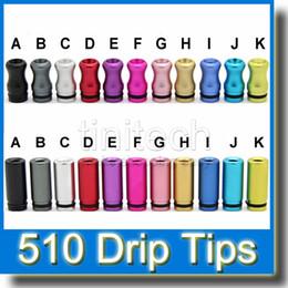 Cigarrillo electrónico Metal colorido Puntas de goteo Aluminio 510 Puntas de goteo Aluminio para Vivi Nova DCT V2 iClear30b Protank Atomizador EGO Puntas de goteo desde fabricantes