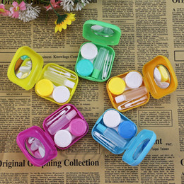 Wholesale Contact Lenses Case Mirror - 2017 Cute Pocket Mini Contact Lens Case Travel Kit Easy Carry Mirror Container