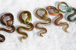 Pingentes de vidro murano on-line-Pingentes fit colar de ouro poeira Snake Animal Lampwork italiano artesanal pingente de vidro Murano atacado lotes moda jóias