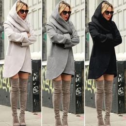Wholesale girls white long sleeve blouse - Women Hooded Jackets Winter Long Coat Casual Coat Long Sleeve Sweatshirts Blouses Pullover Outwear Jumper Female Clothes 50pcs OOA3392