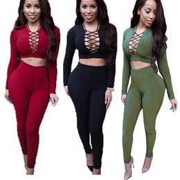 Wholesale Red Overalls For Women - 2 piece Sexy Rompers Womens Jumpsuit 2016 Long Sleeve Criss Cross Overalls For Women Bodysuit Cotton Bodycon Playsuits And Jumpsuits Black