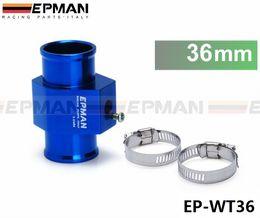 Wholesale Water Quality Sensors - EPMAN Racing Universal High Quality 36mm Aluminium Water temp Gauge Radiator Hose Sensor Adaptor Blue EP-WT36