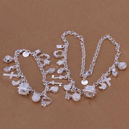 Discount porcelain silver bracelet - heavy 55g 925 silver jewelry set 18x8 inches GS-39,High quality unisex 925 silver plated neckace charm bracelet,Wholesale, retail,mix order