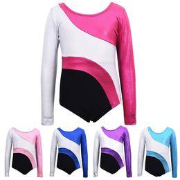 Wholesale red unitards - Fashion kids bodysuits Gymnastics Leotards Long Sleeve color stitching design Bronzing Ballet Leotards 5 color 5 Size
