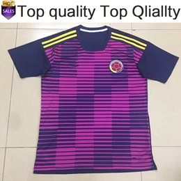 Wholesale National Football Team Shirts - 2018 world cup Colombia train National Team Jersey Colombia train purple Soccer Jerseys 2018 world cup Thai Football train Shirt