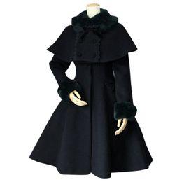Wholesale Purple Tailored Jacket - Custom Tailored Women's Winter Coat Retro Style Female Two Piece Long Coat with Poncho Jacket