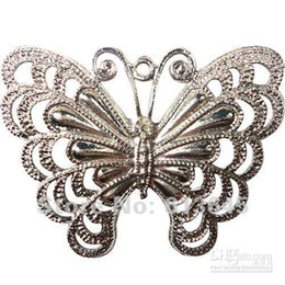 Wholesale Pendants For Scarf Necklaces - 10PCS LOT Alloy Silver Butterfly Pendant For Jewellery Necklace Scarf with Crystal, Free s