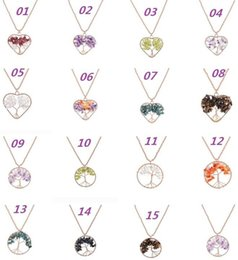 Wholesale Crystal Lucky Tree - Retro Pendant Necklaces For Womens And Mens Natural Crystal Stone Tree Of Life Manual Winding Heart-Shaped Pendant Lucky Tree Ornaments