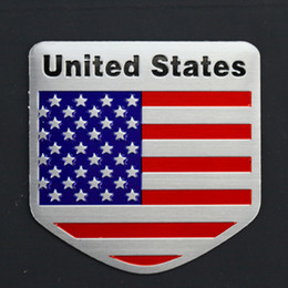 Wholesale Ford Focus Stickers - Car Styling 3D Aluminum United States Flag Car Sticker Decal For Cadillac Buick Chevrolet Ford Lincoln Chrysler Jeep Dodge Focus Cruze
