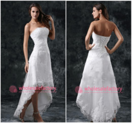 Wholesale Sexy Back Bridal Dresses - High Low Short Summer Beach Wedding Dresses 2017 Strapless Appliques Lace Corset Back Sexy White Ivory Bridal Gowns CPS110