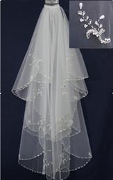 Wholesale Cheap Bridal Headwear - Cheap Luminous handmade Beaded Pearl Edge Two-Layer With Comb For Bridal Veil Wedding Headwear Hair Accessories
