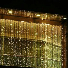 holiday lights icicles Promo Codes - 3M*3M 300 Leds Window Curtain Icicle Lights String Fairy Light Wedding Party Home Garden Decorations 110V 220V Flash Fairy String Light