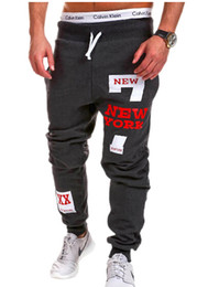Wholesale Harem Pencil Pants Men - NEW YORK Print Mens Gym Joggers Sweatpants Sport Harem Pants Men Loose Gym Jogging Trousers Tracksuits Pantalones Hombre free shipping