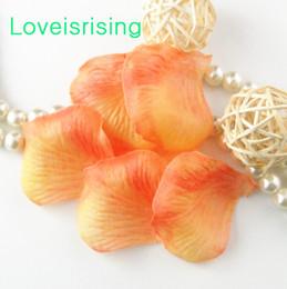 Alaranjado pétalas flor casamento on-line-10 pacotes (1440 pcs) orange tecido não-tecido artificial rose flower pétala para festa de casamento favor decoração-frete grátis