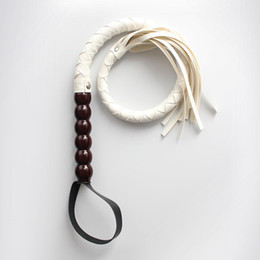 "Wholesale Sex Ride - 33.4"" High Quality Wood Handle Faux Leather Sex Whip Flogger Riding Crop Sex Aid Spanking Bondage white WP04008-W"