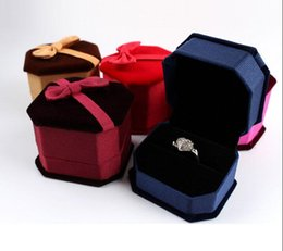 Wholesale Velvet Bow Jewelry Gift Boxes - Rings Box Jewelry Box Bow Tie Velvet Luxury Jewelry Boxes For Sale Wedding Gift Box Ring Stud Box 50Pcs Lot 2016 March Style
