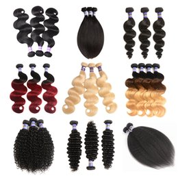 Wholesale Brown Curly Hair Extensions Weft - Ombre Brazilian Remy Human Hair Extension Body Wave deep wave Bundles afro kinky curly loose wave Hair straight Weave Natural black Color