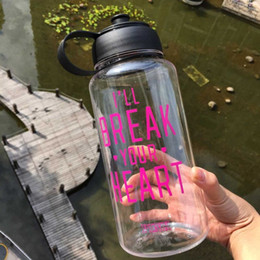 Wholesale Clear Plastic Drinking Cups - 2015 new women's kettle for travel 1000 ML Portable Clear VS PINK Bottle Sport Bicycle Plastic Fruit Lemon Juice Water Cup