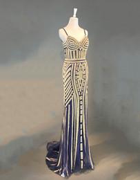 Plus größe kleider champagner farbe online-Real Bilder Elegant Marineblau Sparkly Pailletten Mermaid Abendkleider Lange Gold Farbe Champagner Festzug Illusion Prom Abendkleider
