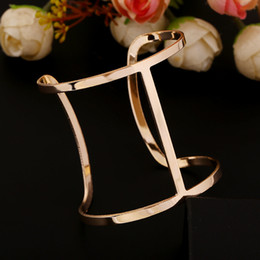 Wholesale Traditional Costumes For Halloween - New 2015 Punk Designer Gold Silver Color Alloy Bangles Simple Hollow Out Wide Cuff Bracelets & Bangles Costume Jewelry For Women