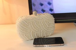 Wholesale Ivory Bridal Hand Bags - 2016 Popular Unique Style White Ivory Pearl Bridal Hand Bags for Wedding Evening Party Event EM01085