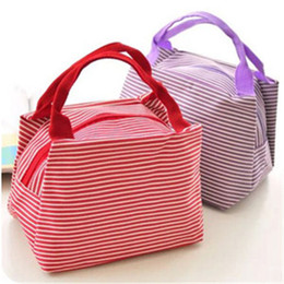 Wholesale Insulated Lunch Bag Black - Outdoor Lunch Box Bag Thermal Insulated Lunch Box Tote Cooler Canvas Zipper Bag Bento Lunch Pouch Hot Insulation Bag For Kids 10Pcs Lot