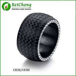 Wholesale Large Black Stone Rings - BC Jewelry Fashion 2015 High Quality Black Tyre Ring Titanium Steel Large Cool Men Ring Jewelry BC-169