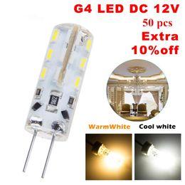 Wholesale 12v Mini Led Bulbs - 50X SMD 3014 2W DC 12V G4 LED Lamp high brgiht 360 Beam Angle LED Bulb Crystal Chandelier mini Corn Led Bulbs Tubes