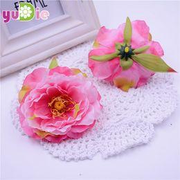 Wholesale Wrist Corsage Accessories - 30pcs 8cm Artificial Peony Flower Large Silk Peony Flowers Heads For Diy Flowers Arrangements Wedding Wrist Corsages Accessories