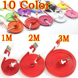 Wholesale Iphone 4s 2m Cable - Wholesale-1M 2M 3M for iPhone 4 4S Flat Noodle Colorful Sync Data Charging Charger Adapter Cable for Apple iPhone 3GS 4 4S iPad 2 3 iPod