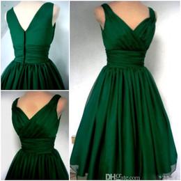 Wholesale Dress Chiffon Overlay - Emerald Green 1950s Cocktail Dress Vintage Tea Length Plus Size Chiffon Overlay Elegant Cocktail party Dress Custom made women casual dress
