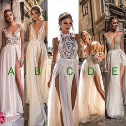 Wholesale Cowl Neck Chiffon Dresses - 5 models sexy high slit tulle skirt wedding dresses 2018 muse berta bridal sleeveless deep plunging v neck heavily embellished wedding gowns