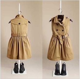 Wholesale Canvas Belt Double - 2016 Fashion Girls Double Breasted Dress High Quality Big Girl Sleeveless Vest Dresses With Belt Kids Princess Dress Children Dress Retail