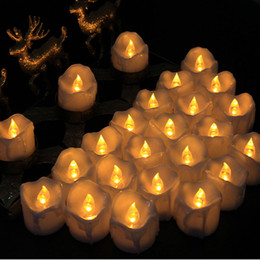 Wholesale Electric Led Candle Lights - 24pcs Led Electric Candle Tealight Flicker Flashing Flameless Pillar Romance Tea Light Christmas Halloween Wedding Decoration