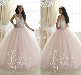 Wholesale Cheap Light Up Collars - Elegant 2016 Sweet 16 Party Quinceanera Dresses Pale Pink Ball Gown Tulle Crystals Cap Sleeves Cheap Plus Size Girls Debutante Prom Dresses