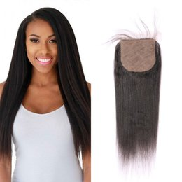 Wholesale human yaki - Silk top closure yaki straight Peruvian human hair with hidden knots natural color 4x4 silk closures FDSHINE