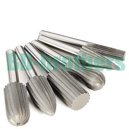 "Wholesale Electric Drill Burrs - 6 pcs  set HSS Carbide Burr Bit Rotary Cutter Files Set Milling Cutter 6mm 1 4"" Shank For Dremel Rotary Tools Electric Grinding 50"