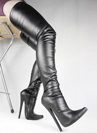 Wholesale Large Size Stiletto Heels - Black matt pu Sexy fetish pointed toe stiletto long boots 18cm extreme high heels large size over the knee thigh high boots BDSM CROTCH BOOT