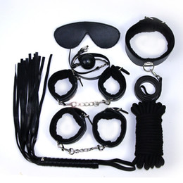 Wholesale Hand Leg Bondage - 7-in-1 BDSM Bondage Gear Kit Restraints PU Ball Gag Rope Spanking Whip Sex Collar Hand Leg Cuffs Eye Mask Adult Toys for Women