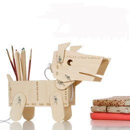 Wholesale Light Box Table Desk - Novelty DIY Creative table lights Lighting Wooden Small Robot Dog decorative Desk Lamp With Storage Box For Children Toy Light