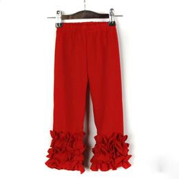 Vestido estilo pantalón niña online-Vestido de las muchachas de la moda de algodón niño pantalones nuevo estilo otoño invierno formación de hielo pantalones sólidos Ventas calientes con volantes niños pantalones llenos