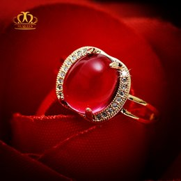 Wholesale Natural Ruby Gold Ring 18k - Engagement Hot sale Wholesale 18k rose gold plated oval cabochon natural ruby red tourmaline ring for women