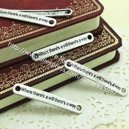 Wholesale Lettering Metal Bracelet - 50pcs 7*45mm Antique Silver Metal Curved Rectangular Lettering diy Jewelry Connectors Fit Bracelet Jewelry Findings D0038