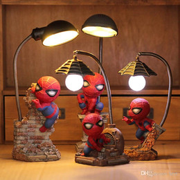 Wholesale Spiders Lights - high quality new cool spider night light Bedroom decoration lamp Home Furnishing learning spider man lamp creative Marvel heroes Nightlight