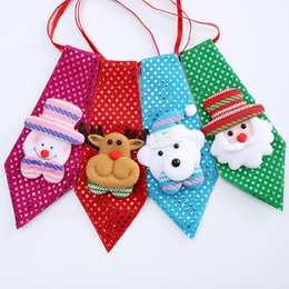 Wholesale Kid Sequin Ties - Kids Christmas Neck Tie Boy Girl Party Sequin Ties Father Christmas Deer print Creative Bow Tie Children Decoration 4styles